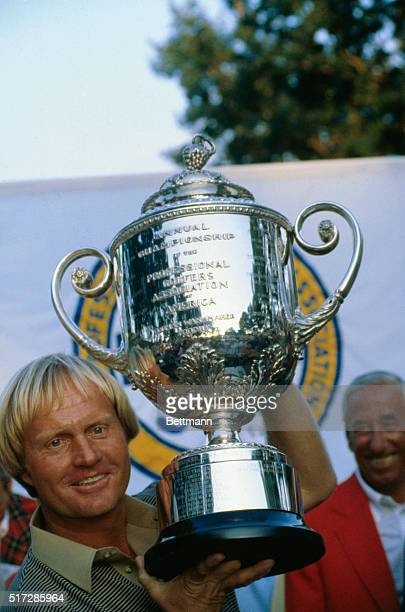 Jack Nicklaus holds his trophy after winning the 62nd PGA on the Oak Hill Country Club. It was Nicklaus' fifth PGA victory following his U.S. Open...