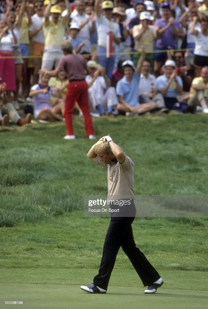 Jack Nicklaus in action walking up the fairway June 1983 during the 1983 U.S. Open Championships at Oakmont Country Club in Oakmont, Pennsylvania in June 1983. Nicklaus finished the tournament tied for 43rd.