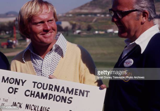 Jack Nicklaus in award ceremony with check, winning the PGA 1973 Tournament of Champions at La Costa Resort and Spa.
