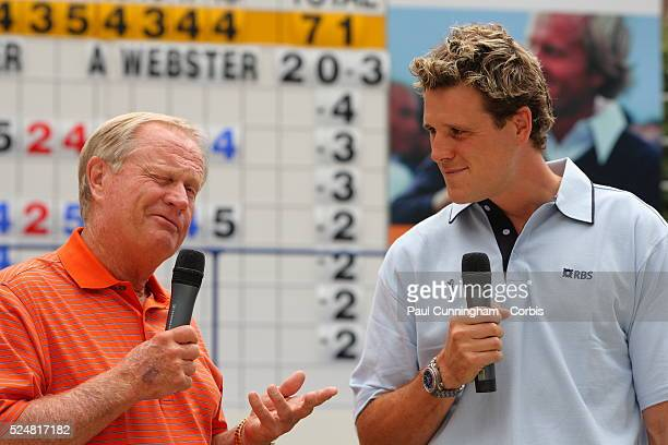 Jack Nicklaus interview with James Cracknell during an RBS Golf Sport Event as Patron of the 136th Open Championship via live feed at Broadgate...