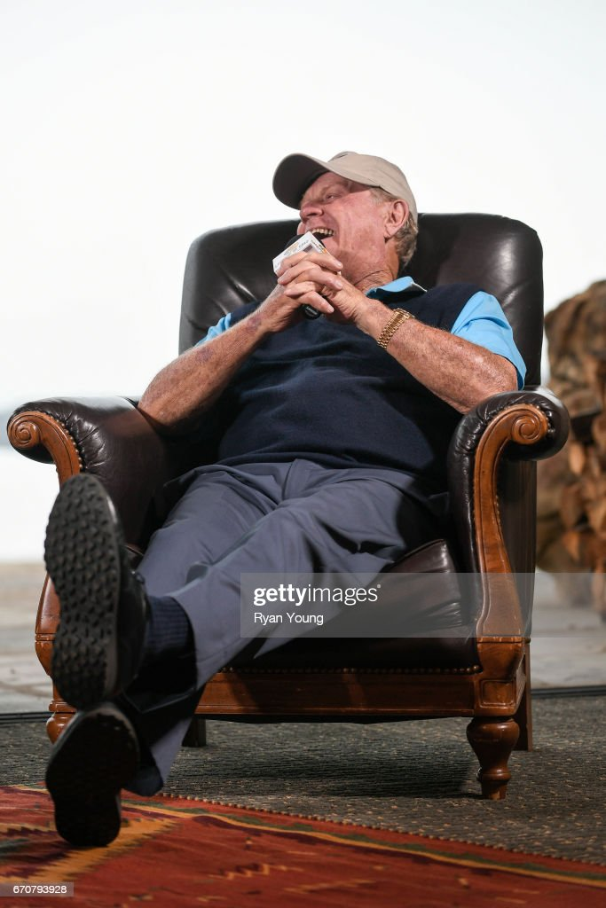 Jack Nicklaus laughs while speaking during a press conference for the PGA TOUR Champions Bass Pro Shops Legends of Golf at Big Cedar Lodge at Top of the Rock on April 20, 2017 in Ridgedale, Missouri.