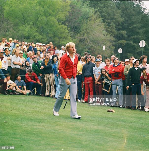 Jack Nicklaus leaving tee box during the 1972 Masters Tournament at Augusta National Golf Club in April 1972 in Augusta, Georgia.
