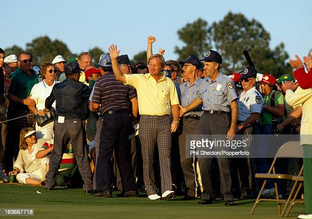 Jack Nicklaus of the United States acknowledges the crowd after winning the US Masters Golf Tournament held at the Augusta National Golf Club in...