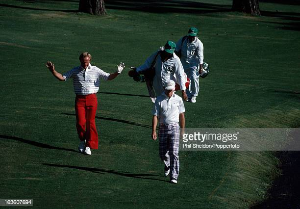 Jack Nicklaus of the United States acknowledges the crowd during the US Masters Golf Tournament held at the Augusta National Golf Club in Georgia...