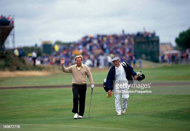 Jack Nicklaus of the United States acknowledges the crowd during the British Open Golf Championship held at the Royal Lytham and St Annes Golf Club...