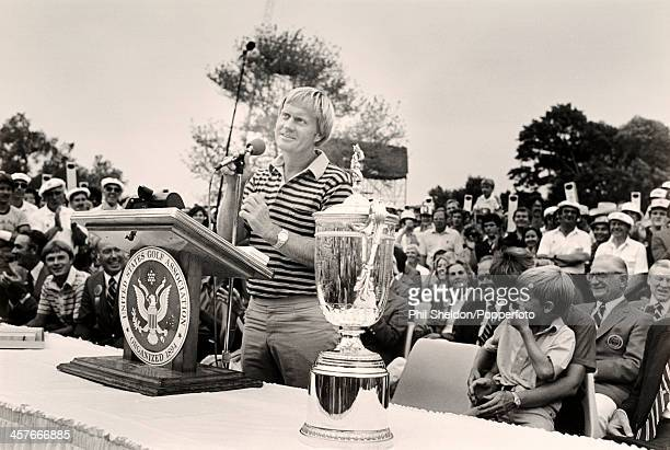 Jack Nicklaus of the United States gives a speech after winning the US Open Golf Championship held at the Baltusrol Golf Club in New Jersey 15th June...