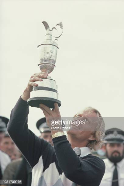 Jack Nicklaus of the United States holds aloft the famed Claret Jug after winning the 107th Open Championship on 15th July 1978 on the Old Course at...