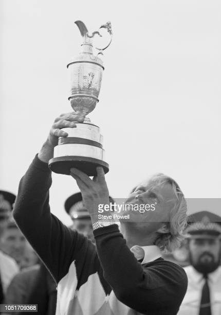 Jack Nicklaus of the United States holds aloft the famed Claretd Jug after winning the 107th Open Championship on 15 July 1978 on the Old Course at...