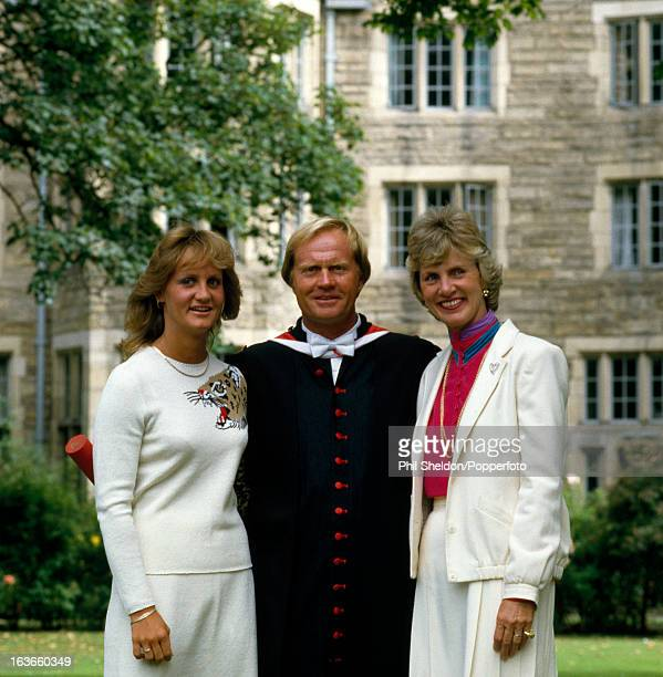 Jack Nicklaus of the United States in an academic robe with his daughter Nancy and his wife Barbara after receiving an honorary doctorate from the...