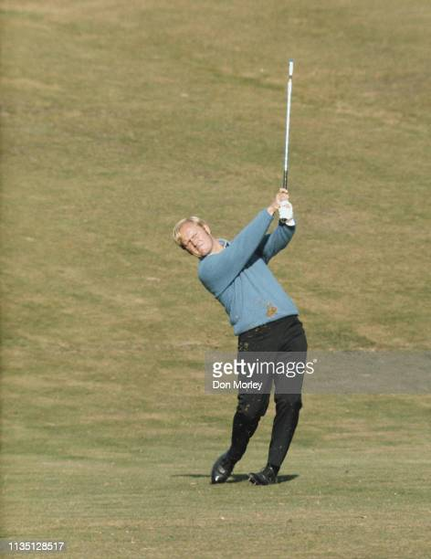 Jack Nicklaus of the United States plays an iron shot during the Piccadilly World Match Play Championship held on 7 October 1966 at The Wentworth...