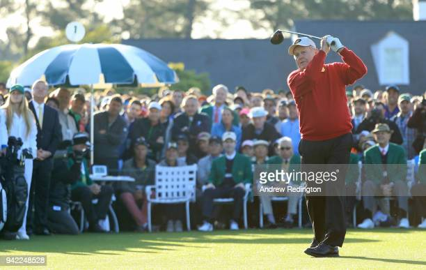 Jack Nicklaus of the United States plays his shot from the first tee during the opening tee ceremony for the first round of the 2018 Masters...