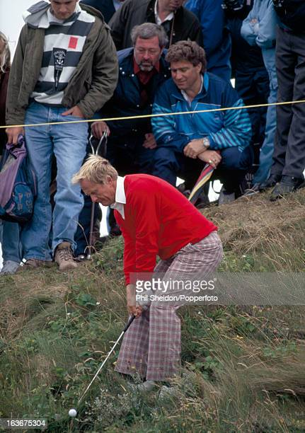 Jack Nicklaus of the United States shoots out of the rough during the British Open Golf Championship held at the Royal Birkdale Golf Club in...