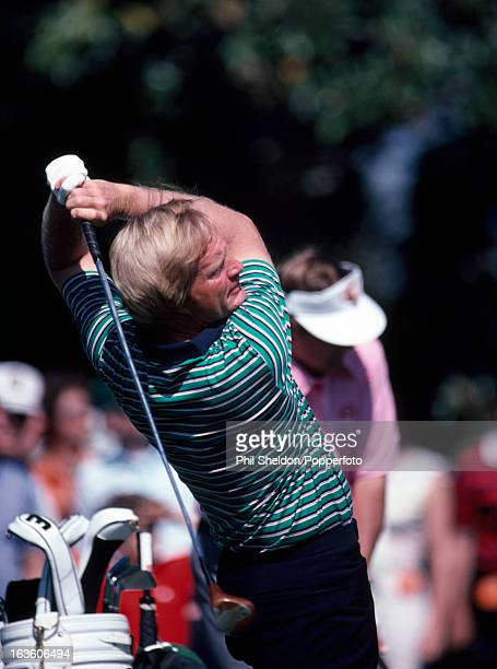 Jack Nicklaus of the United States tees off during the US Masters Golf Tournament held at the Augusta National Golf Club in Georgia circa April 1981...