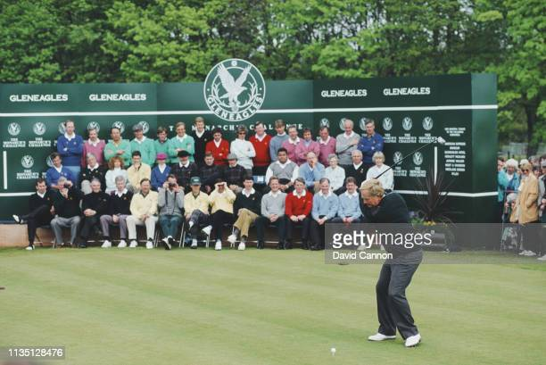 Jack Nicklaus of the United States tees off in front of a host of celebrities during the Monarchs Challenge golf tournament to open the PGA Centenary...