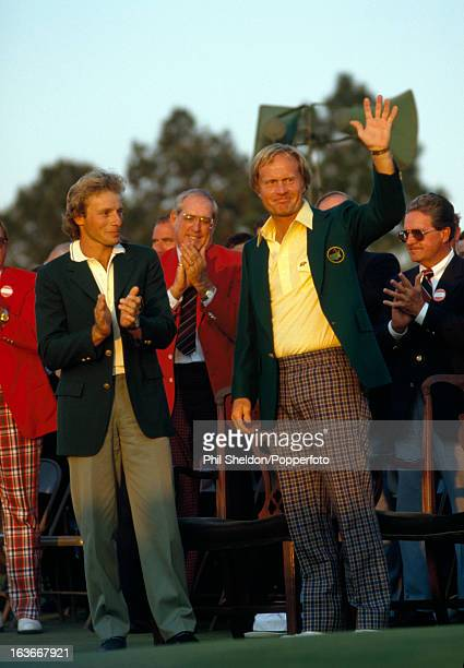 Jack Nicklaus of the United States with Bernhard Langer of Germany acknowledges the crowd after winning the US Masters Golf Tournament held at the...