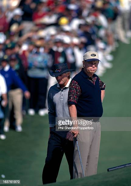 Jack Nicklaus of the United States with Greg Norman of Australia during the US Masters Golf Tournament held at the August National Golf Club in...