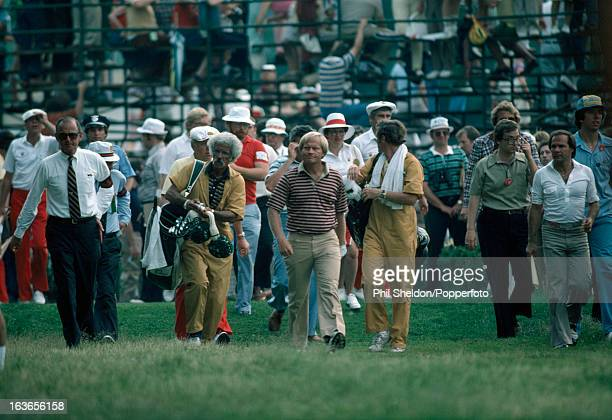 Jack Nicklaus of the United States with his caddie Angelo Argea during the US Open Golf Championship held at the Baltusrol Golf Club in Springfield...