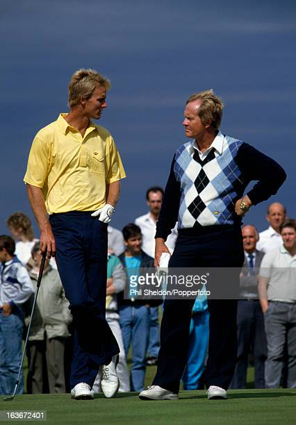 Jack Nicklaus of the United States with his son Jackie Nicklaus during the British Open Golf Championship held at the Muirfield Golf Club in Gullane...