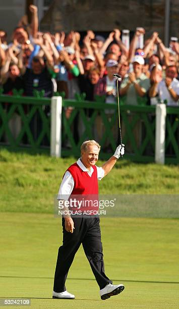 Jack Nicklaus of the US celebrates scoring a birdie on the 18th hole during the second day of the 134th Open Championship golf tournament in St....