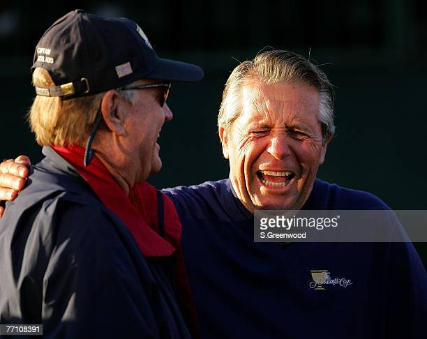Jack Nicklaus of the US team and Gary Player of the International team share a laugh on the 1st tee during the round 3 morning foursome matches of...