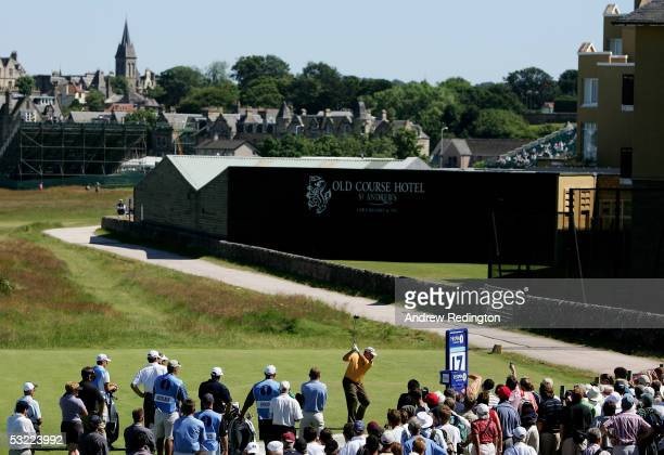 Jack Nicklaus of the U.S. Tees off on the 17th hole during practice for the 134th Open Championship at Old Course, St. Andrews Golf Links, July 11,...