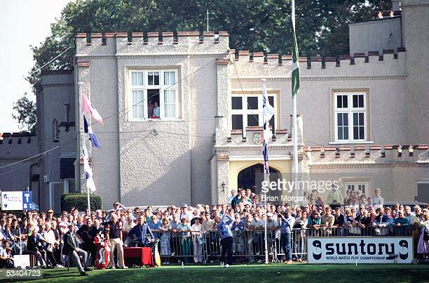 Jack Nicklaus of the USA plays a shot during the World Matchplay held in 1986 at Wentworth, in Surrey, England.