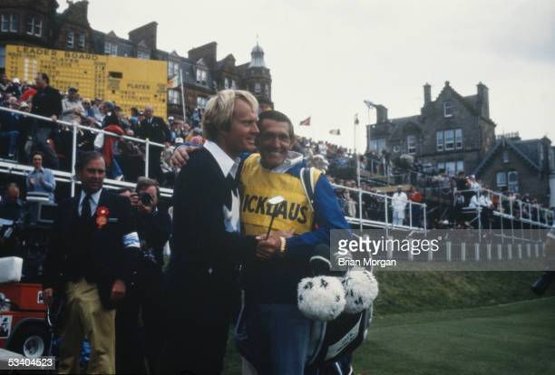 Jack Nicklaus of the USA with his caddy at the 1978 British Open held in July 1978 at St Andrews Scotland