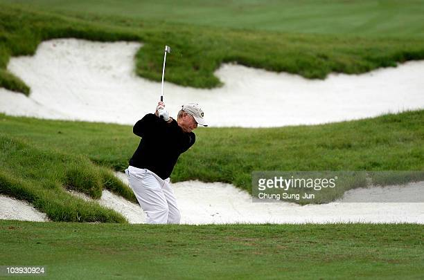 Jack Nicklaus of United States hits to the 2nd green during the ProAm prior to the start of the PGA Champions Tour Posco EC Songdo Championship at...