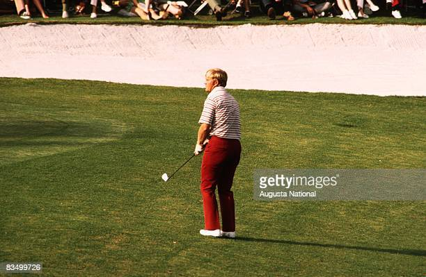 Jack Nicklaus pitches to the green during the 1972 Masters Tournament at Augusta National Golf Club in April 1972 in Augusta Georgia