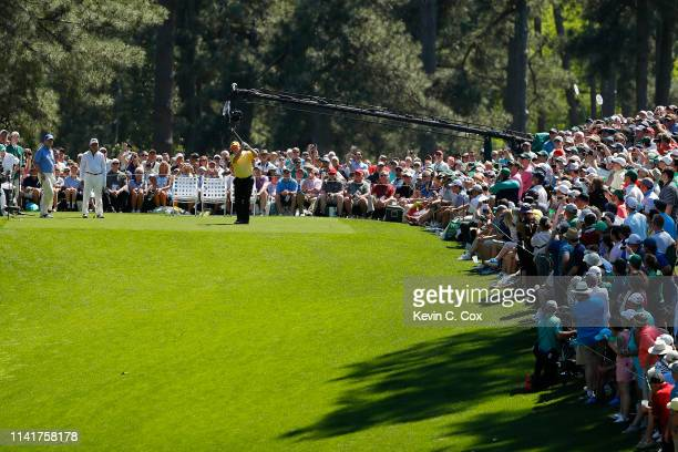 Jack Nicklaus plays a shot during the Par 3 Contest prior to the Masters at Augusta National Golf Club on April 10 2019 in Augusta Georgia