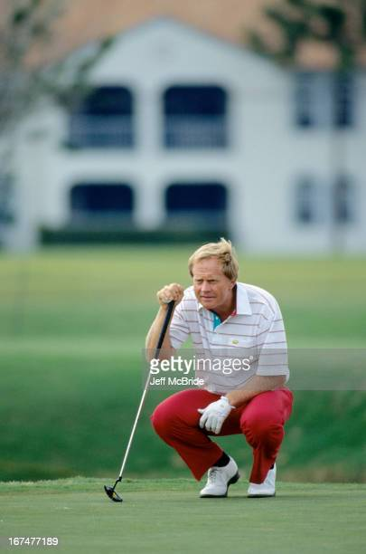 Jack Nicklaus reading his putt during the 51st Senior PGA Championship held at the PGA National Golf Club in Palm Beach Gardens Florida April 1215...