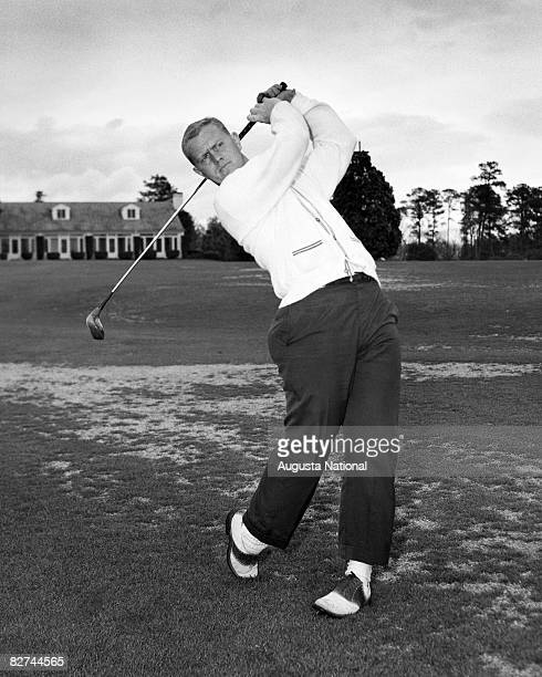 Jack Nicklaus, seen as an amateur, swings during the 1959 Masters Tournament at Augusta National Golf Club held April 2-5, 1959 in Augusta, Georgia.