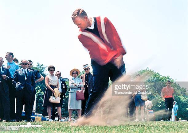 Jack Nicklaus shows his form for the fans at the Thunderbird Classic in June of 1961 in Clifton New Jersey