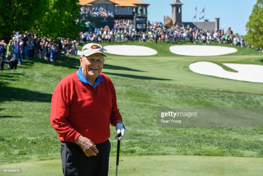 Jack Nicklaus smiles on the eighth tee during the Legends of Golf Skins Shooutout during the PGA TOUR Champions Bass Pro Shops Legends of Golf at Big Cedar Lodge at Top of the Rock on April 23, 2017 in Ridgedale, Missouri.