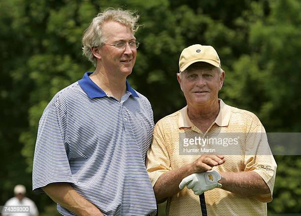 Jack Nicklaus stands with Aubrey McClendon of Chesapeake Energy Corporation during the Morgan Stanley Pro-Am Invitational at The Memorial Tournament...