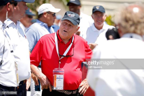 Jack Nicklaus talks with officials during Sunday singles matches on Day Two of The Walker Cup at Seminole Golf Club on May 09, 2021 in Juno Beach,...