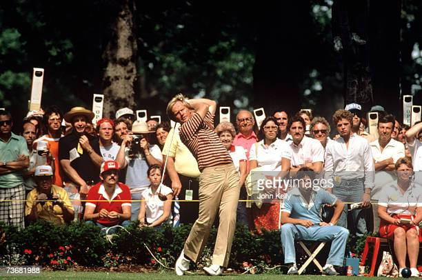 Jack Nicklaus tees off during the 1980 US Open at Baltusrol.