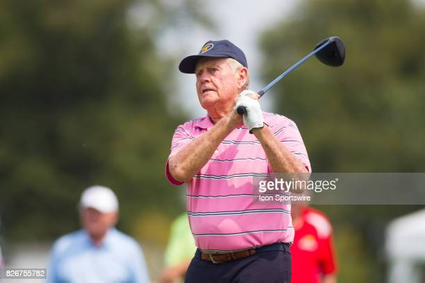Jack Nicklaus tees off on the 1st hole for the Greats of Golf tournament during the Second Round of the 3M Championship on August 5 2017 at TPC Twin...