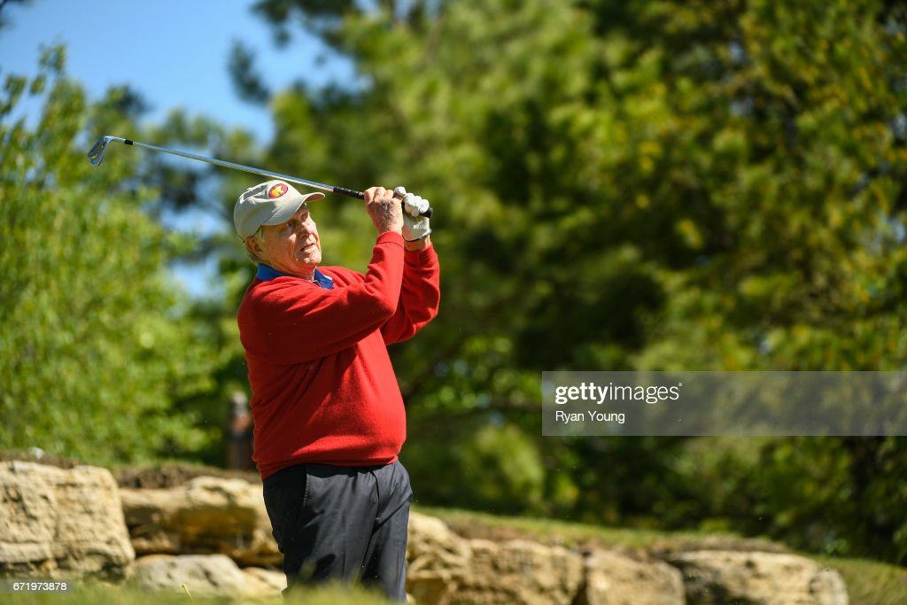 Jack Nicklaus tees off on the fifth hole during the Legends of Golf Skins Shooutout during the PGA TOUR Champions Bass Pro Shops Legends of Golf at Big Cedar Lodge at Top of the Rock on April 23, 2017 in Ridgedale, Missouri.