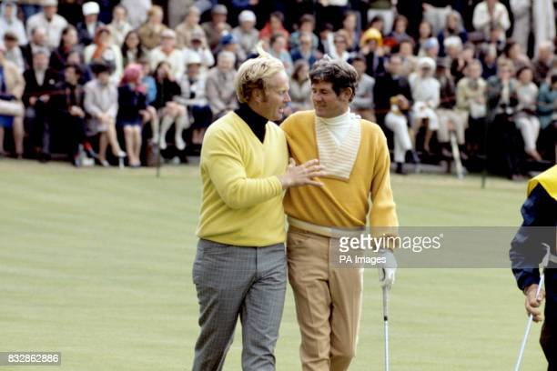 Jack Nicklaus the new Open Golf Champion and Doug Sanders the man he beat walking off together after the playoff which decided the winner