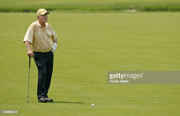 Jack Nicklaus waits to hit his second shot on the fifth hole during the Morgan Stanley Pro-Am Invitational at The Memorial Tournament May 30, 2007 in...
