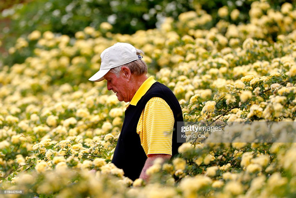 Jack Nicklaus walks during the Par 3 Contest prior to the start of the 2016 Masters Tournament at Augusta National Golf Club on April 6, 2016 in Augusta, Georgia.