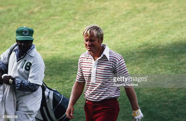 Jack Nicklaus walks up the fairway with his caddie during the 1972 Masters Tournament at Augusta National Golf Club on April 1972 in Augusta, Georgia.