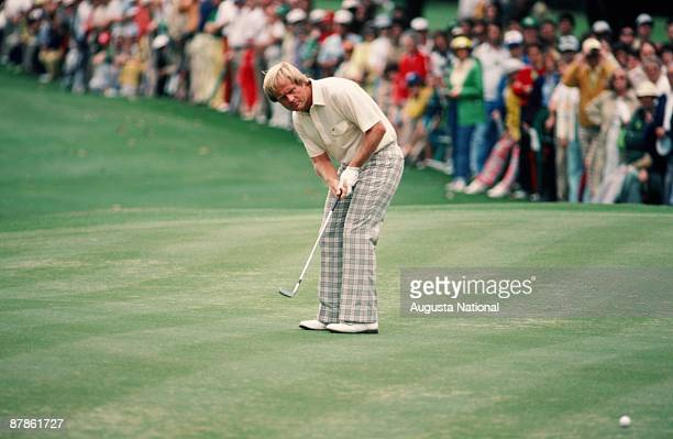 Jack Nicklaus watches his putt during the 1979 Masters Tournament at Augusta National Golf Club in April 1979 in Augusta Georgia