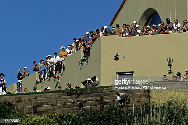 Jack Nicklaus waving to the crowd as he comes to tee off during the 77th PGA Championship held at The Riviera Country Club in Pacific Palisades...