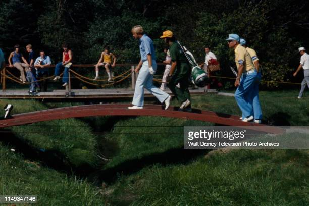 Jack Nicklaus, with caddies, competing in the 1973 PGA Championship / 55th PGA Championship, at Canterbury Golf Club.