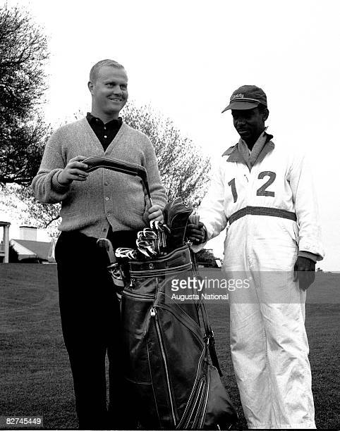 Jack Nicklaus with caddy during the 1961 Masters Tournament at Augusta National Golf Club on APril 610 1961 in Augusta Georgia