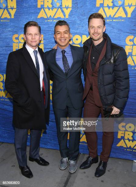Jack Noseworthy Sergio Trujillo and Christopher Wheeldon attend the Broadway Opening Night performance for 'Come From Away' at the Gerald Schoenfeld...