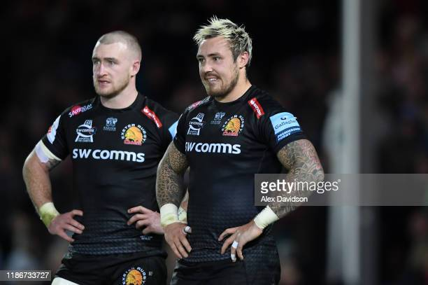 Jack Nowell and Stuart Hogg of Exeter Chiefs look on dejected after defeat in the Gallagher Premiership Rugby match between Exeter Chiefs and Bristol...