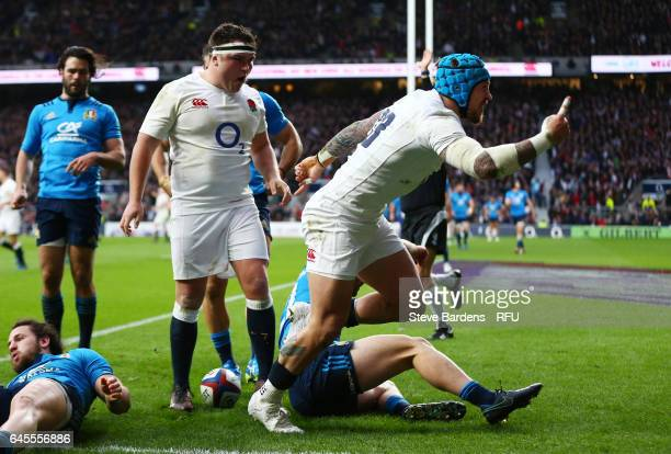 Jack Nowell of England celebrates after scoring his team's fourth try during the RBS Six Nations match between England and Italy at Twickenham...